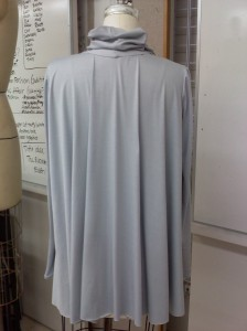 Draping project: cloud-toned fly-away cardigan (back)