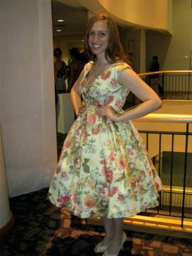 """Vintage Vogue"" dress. The floral cotton sateen was originally intentioned as sofa covering."