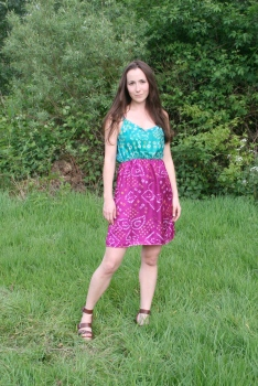 SariCycle Two-Tone Summer Dress. Lightweight Silk. Model: Julia Rose Brownlee