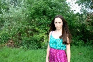 SariCycle Two-Tone Summer Dress. Lightweight Silk. Model: Julia Rose Brownlee