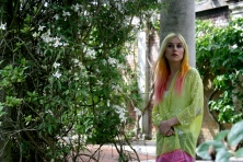 Yellow/Pink Kimono, embroidered silk chiffon. Model: Alice Old
