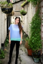 SariCycle Blue/Green Tunic, silk chiffon. Model: Brianna Domont