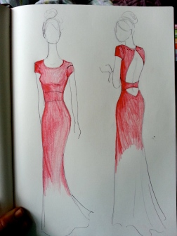 Quick red dress sketch for client