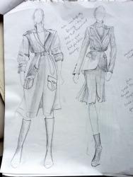 Fall coats- pencil sketch in notebook