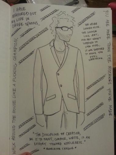 Asymmetric jacket (stylized sketch) for prospective client