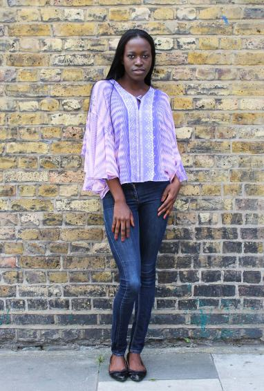 Purple/Pink Festival Blouse (Chiffon). Model: Eni Maj
