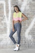 SariCycle Pink/Yellow Crop Top, embroidered silk chiffon. Model: Eni Maj