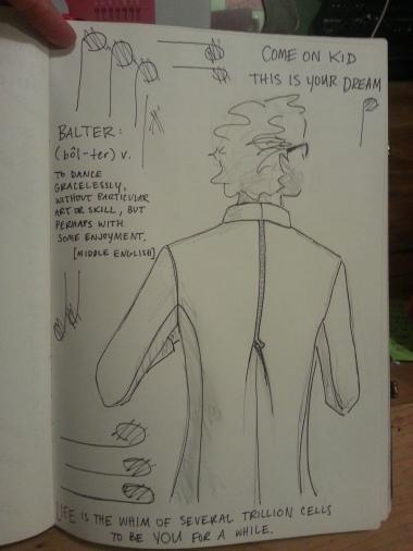 Zipper-back jacket (stylized sketch) for prospective client